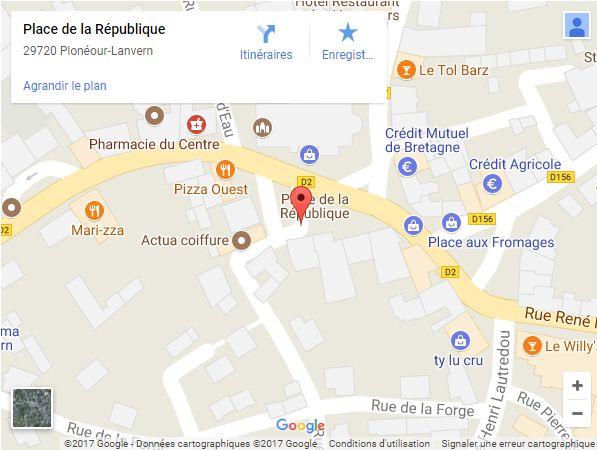 Carte : Place de la République, 29720 Plonéour-Lanvern
