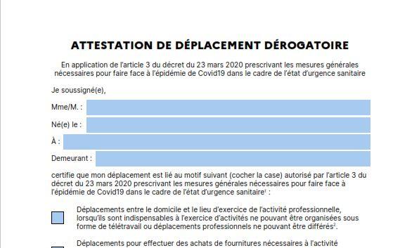 Attestation de déplacement dérogatoire du 23/03/2020